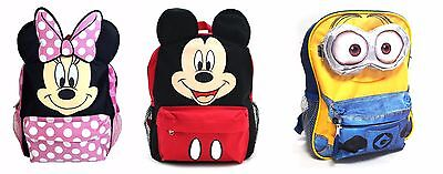 "Licensed Kids Girls Boys Toddler Preschool School 12"" Mickey Minnie Minion"