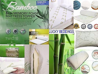 "Quality Bamboo Memory Foam Mattress Topper 1"" 2"" Ultra Soft  Orthopaedic"