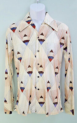 Vintage 70s Men's Disco Shirt Off-White Art Deco Pointy Collar Leisure M 15
