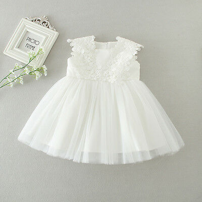 White Cute New Born Baby Baptism Dress Christening Lace Gown Dress Party 3-12M