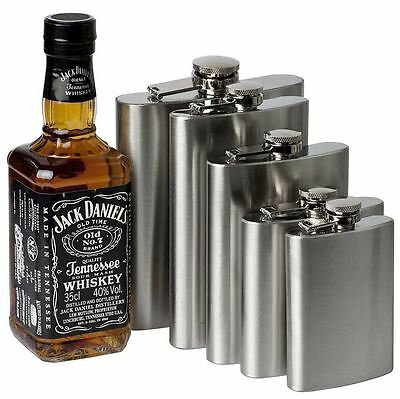 5,6,7 & 8oz Hip Flask Stainless Steel Pocket Drink Whisky/Vodka Flasks-Free Post