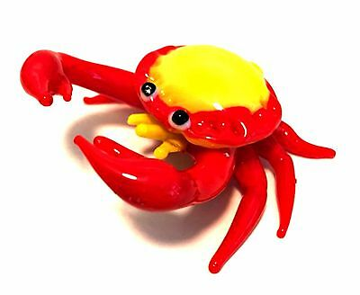 Handcrafted Miniature Crab Blown Glass Figurine Yellow Red 2.5 inches Long