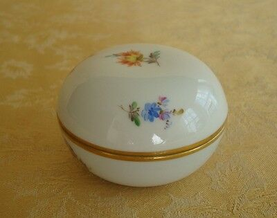 Meissen Trinket/candy Box Hand Painted Porcelain Floral Gold Trim Germany