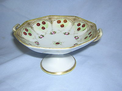 "Vintage Hand Painted Nippon 5 1/2"" Handled Compote Flowers Gold Trim ~Hallmarked"