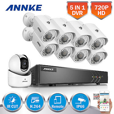 ANNKE 1080P Lite 9CH 5in1 DVR 8x Outdoor + 1 Wireless IP Camera Security System