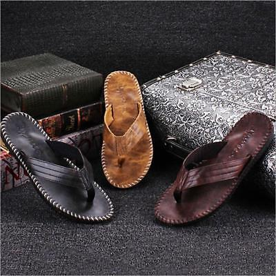 Casual PU Leather Men's Sandals Thong Flip Flops Slippers Summer Beach Shoes FW