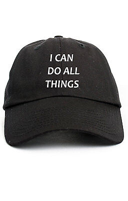 I Can Do All things Custom Unstructured Dad Hat Cap Brand New Philippians-Black