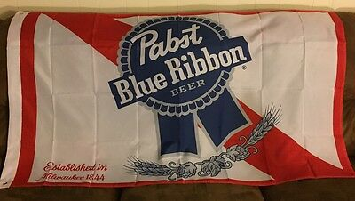 Pbr Pabst Blue Ribbon Flag Banner 3X5  New Great For Man Cave!!!!!!