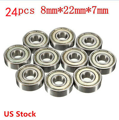 24Pcs 608zz Deep Groove Ball Bearing Carbon Steel For Skateboard Roller Blade US