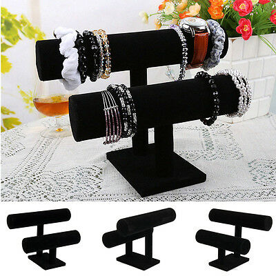 AU 2-Tier Leatherette Jewelry Bracelet Rack Watch Display Holder Stand Showcase