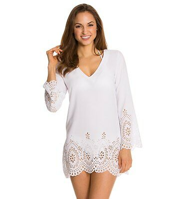 bbec5cef4c Kenneth Cole white laser cut out swimsuit beach cover up tunic S L XL