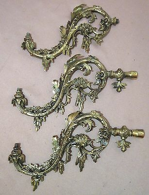 lot of 3 quality antique ornate cast brass gas sconce fixtures arms lamp