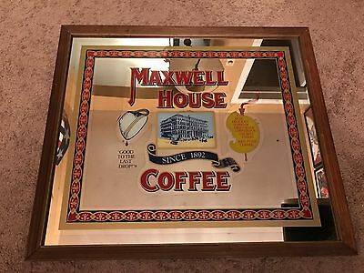 """Huge!! Antique Vintage Maxwell House Coffee 30""""x26"""" Wood Sign Framed Mirror"""