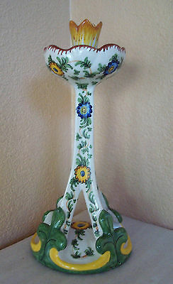 Vintage Hand Painted Italian Pottery Stick Candle Holder Signed 1190 Italy