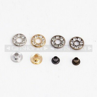 Set of 10: Small Round Rhinestones Metal Rivet Replacement Button Stud DIY Craft