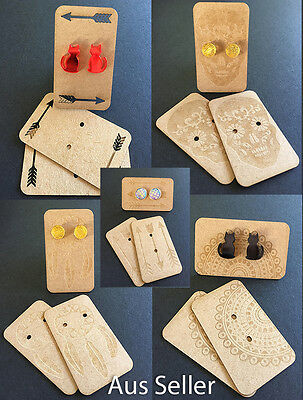 Earring Cards Laser Cut & Etched Designs DIY Jewellery Tags Recycled Cardboard