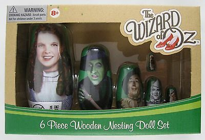 The Wizard Of Oz Real Wood Painted Nesting Doll 6 Piece Set