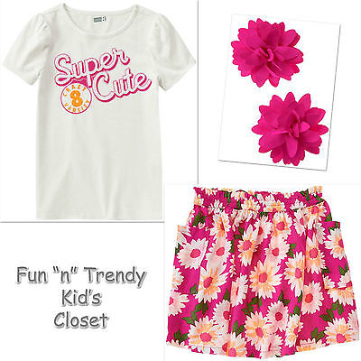 NWT Gymboree PLAY BY HEART Girls Size 6 Denim Skirt Tee Top Bow Clip 3-PC OUTFIT
