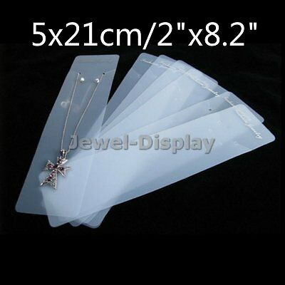 100 Plastic White Fashion Jewelry Necklace Card Accessory Retail Display 5x21cm