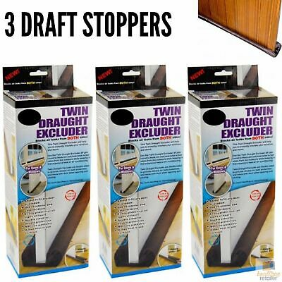 3x Twin DRAFT STOPPER Double Sided Snake Air Wind Door Guard Cover Weather Seal