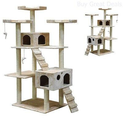 Go Pet Club Cat Tree, 50W x 26L x 72H, (Beige) - New & Sealed