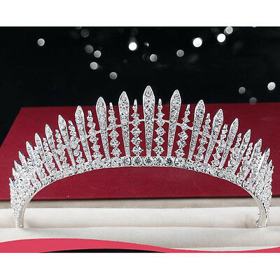 Twinkling Tiara Diadem Wedding Bride Crown Clear Rhinestones Prom Pageant Party