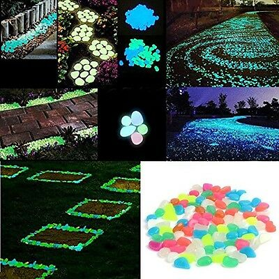100Pcs Glow In The Dark Stones Pebbles Rock Aquarium Fish Tank Garden Walk Decor