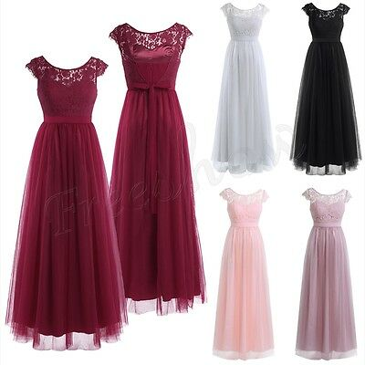 Women Lace Long Tulle Bridesmaid Party Formal New Dress Evening Prom Ball Gown