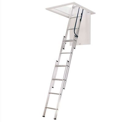 Folding Loft Ladder Hatch 3 Section Aluminium Safety Entering Attic Space Saver