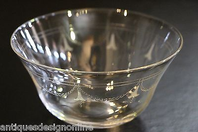 Set 5 antique Pall Mall SERVING BOWLS 1910 Edwardian engraving hand blown glass