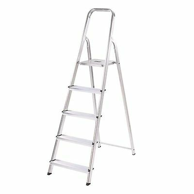 5 Tread Folding Stepladder 4 Step Foldable Ladder Safety Tread Non Slip DIY Jobs