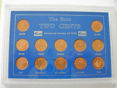 Collection Of Euro 2 Cent Coins- Brilliantly Uncirculated - Cased - Uk Post Free