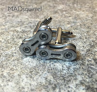 Bicycle, Bike Chain Cufflinks from Chain with a Perforated Side Plate