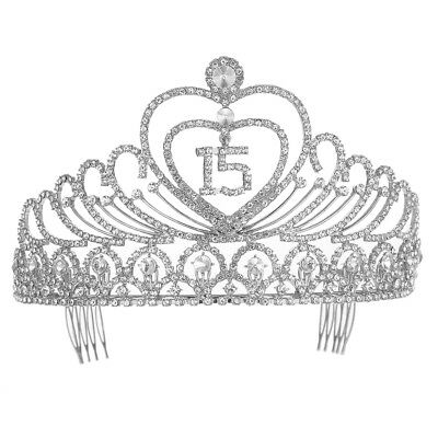 Quinceanera 15 Fifteen Birthday Rhiestone Tiara Crown With Hair Combs Silver