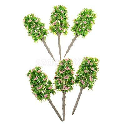6x 18cm 1:64 Scale DIY Model Tree Pink Flower Layout Scenery Diorama Wargame