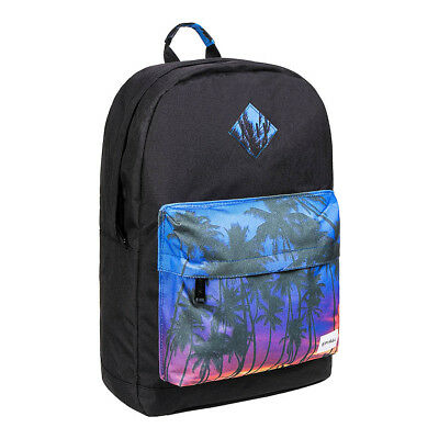 Spiral Miami Pocket Palm Tree Sunset Print Black Unisex Bag Backpack Rucksack