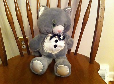 vintage Enesco brand gray cat tuxedo plush Stuffed animal 1983 Prom wedding