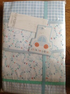 Mothercare Little Beep Beep Tab Top Curtains With Tie Backs 168cm X 183cm *Bnip*