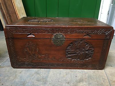 Good Vintage Oriental Carved Hardwood Bedding Box / Coffee Table  / Blanket Box
