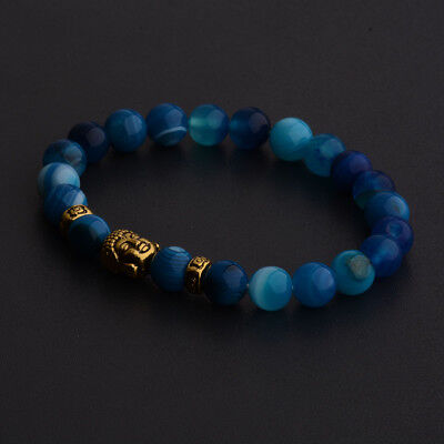 Natural Gemstone Beads Buddha Head Beaded Men Womens Lava Rock Handmade Bracelet