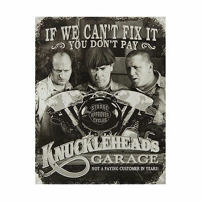 Three Stooges Tin Metal Sign : Knuckleheads Garage  16x13 by Poster Discount