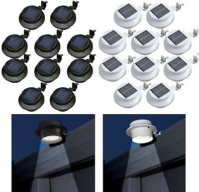 Solar Powered 3 Led Gutter Door Wall Fence Lights Outdoor Solar Garden Lights