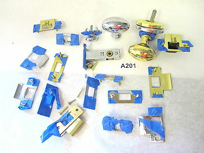 Assorted Lot of Chrome & Brass Door Strike Plates, 2 Oval Knobs, and 1 Mortise