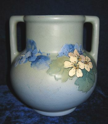 Weller Art Pottery Hudson signed Walch Blue Two Handle 6 Inch Vase Flowers 1930s