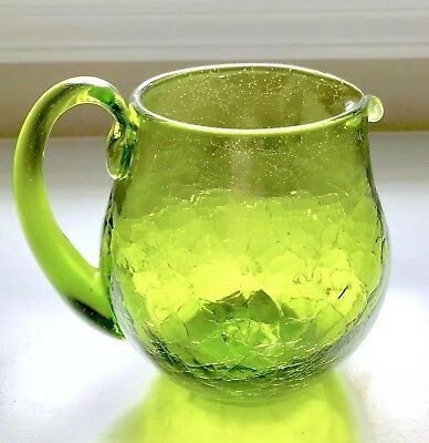 Beautiful Vintage Green Crackle Art Glass Water Pitcher Applied Handle Euc