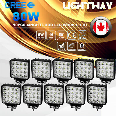 10X 5inch 80W PHILIPS LED Work Light Pod Flood Beam Offroad 4WD Atv Boat Truck