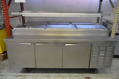 """Randell 93"""" (3) Door Pizza Prep Table with (3) Compartments and Over-Shelf Added"""