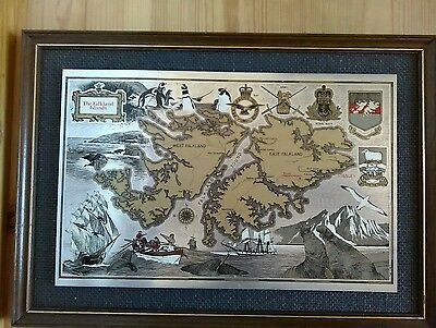 Framed Metal Cotswold Etching of The Falkland Islands Picture Map Artwork