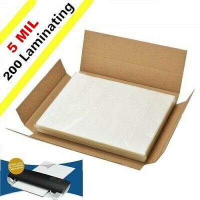 "200 Qty Clear Letter Size Heat Thermal Laminating Pouches 9"" X 11.5"" Sheet 5 Mil"