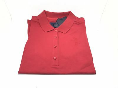New Genuine Ferrari Prancing Horse Ladies Red Short Sleeve Polo Shirt Size Large